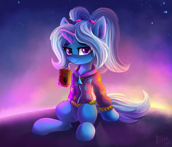 Size: 1169x1000 | Tagged: safe, artist:atlas-66, trixie, pony, unicorn, alternate hairstyle, apple, apple juice, babysitter trixie, clothes, female, food, gameloft, gameloft interpretation, hoodie, juice, juice box, looking at you, magic, mare, pigtails, ponytail, purple background, simple background, sitting, solo, telekinesis