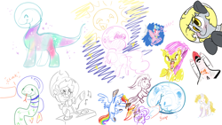 Size: 1920x1080 | Tagged: safe, artist:cutepencilcase, artist:fluffyxai, artist:jennithedragon, artist:pixienop, applejack, cozy glow, derpy hooves, dinky hooves, pinkie pie, rainbow dash, oc, earth pony, pegasus, pony, snake, unicorn, drawpile disasters, mlpds, ponyfest 3, running, running in place, scared, snow, snowball, space, space shuttle