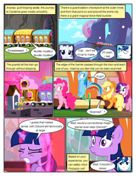 Size: 612x792 | Tagged: safe, artist:newbiespud, edit, edited screencap, screencap, applejack, pinkie pie, rainbow dash, shining armor, twilight sparkle, unicorn, comic:friendship is dragons, a canterlot wedding, barrier, comic, dialogue, eyes closed, female, hat, male, mare, mountain, rearing, screencap comic, stallion, train, unicorn twilight, wide eyes