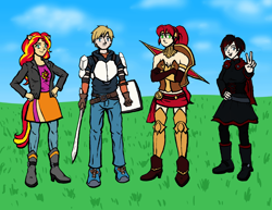 Size: 1553x1200 | Tagged: safe, artist:deathbychiasmus, sunset shimmer, human, fanfic:sapr, armor, blue sky, boots, cape, clothes, corset, cutie mark, cutie mark on clothes, eared humanization, faunus, grass, high heel boots, humanized, jacket, jaune arc, jeans, leather jacket, pants, peace sign, pyrrha nikos, ruby rose, rwby, shield, shoes, simple background, skirt, sneakers, spear, sword, tailed humanization, weapon