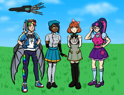 Size: 1553x1200 | Tagged: safe, artist:deathbychiasmus, rainbow dash, twilight sparkle, human, fanfic:sapr, equestria girls, airship, atlas, beret, blue eyes, blue sky, bow, ciel soleil, clothes, cocky grin, converse, cutie mark, cutie mark on clothes, eared humanization, fingerless gloves, forehead jewel, glasses, gloves, goggles, grass, green eyes, hair bow, hat, humanized, penny polendina, purple eyes, rwby, shoes, simple background, skirt, smiling, sneakers, socks, stockings, thigh highs, too cool for school, violet eyes, winged backpack