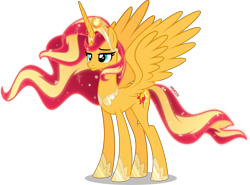 Size: 4000x2965 | Tagged: safe, artist:orin331, sunset shimmer, alicorn, pony, alicornified, alternate universe, crown, cutie mark, ethereal mane, female, jewelry, older sunset, race swap, regalia, shimmercorn, simple background, smiling, solo, starry mane, transparent background