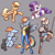 Size: 4000x4000   Tagged: safe, artist:ohemo, applejack, rainbow dash, rarity, oc, anthro, cat, earth pony, pegasus, pony, unguligrade anthro, unicorn, absurd resolution, anthro with ponies, armor, buckler, clothes, female, gray background, hatless, looking at you, mare, missing accessory, simple background, sword, uniform, weapon, wonderbolts uniform