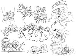 Size: 1920x1424 | Tagged: safe, artist:assasinmonkey, autumn blaze, fluttershy, petunia petals, princess celestia, rainbow dash, rarity, torque wrench, twilight sparkle, alicorn, earth pony, kirin, pony, unicorn, donut, food, fuf, monochrome, sketch, toy story