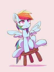 Size: 768x1024 | Tagged: safe, artist:yorozpony, rainbow dash, pegasus, pony, testing testing 1-2-3, chair, ear fluff, female, mare, pink background, simple background, sitting, solo, stool, stooldash