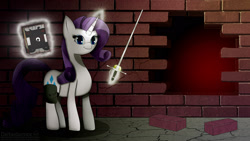 Size: 1920x1080 | Tagged: safe, artist:darbedarmoc, rarity, pony, unicorn, fallout equestria, black book, book, brick, brick wall, solo, sword, wasteland, weapon