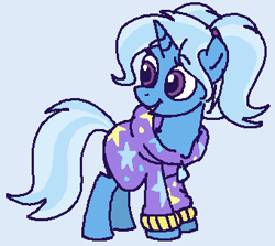 Size: 340x303 | Tagged: safe, artist:kleyime, trixie, unicorn, alternate hairstyle, babysitter trixie, clothes, colored, flat colors, hoodie, ms paint, pigtails, ponytail, solo, twintails