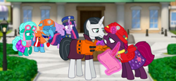 Size: 2340x1080 | Tagged: safe, artist:徐詩珮, chancellor neighsay, fizzlepop berrytwist, glitter drops, spring rain, tempest shadow, twilight sparkle, alicorn, pony, unicorn, series:sprglitemplight diary, series:sprglitemplight life jacket days, series:springshadowdrops diary, series:springshadowdrops life jacket days, alternate universe, angry, bisexual, broken horn, chase (paw patrol), clothes, cute, female, glitterbetes, glitterlight, glittershadow, horn, lesbian, lifeguard, lifeguard spring rain, lifejacket, marshall (paw patrol), paw patrol, polyamory, shipping, skye (paw patrol), sprglitemplight, spring rain is not amused, springbetes, springdrops, springlight, springshadow, springshadowdrops, tempestbetes, tempestlight, twilight sparkle (alicorn), unamused, zuma (paw patrol)