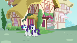 Size: 3840x2160 | Tagged: safe, artist:estories, artist:luckreza8, rarity, unicorn, clone, duo, female, house, looking at each other, mare, ponyville, raised hoof, self paradox, vector