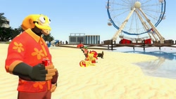 Size: 1600x900 | Tagged: safe, artist:sevenxninja, sunset shimmer, human, pony, unicorn, 3d, beach, coca-cola, docks, engineer, ferris wheel, florida, gmod, octodad, palm tree, pyro, resting, team fortress 2, tree, unbrella, vacation, water