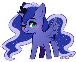 Size: 700x570   Tagged: safe, artist:sevedie, princess luna, alicorn, pony, blushing, chibi, crown, cute, female, filly, jewelry, lunabetes, mare, one eye closed, regalia, simple background, solo, transparent background, wink, woona, younger