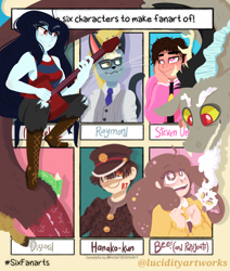 Size: 828x978 | Tagged: safe, artist:darkestsunset, discord, anthro, draconequus, human, six fanarts, adventure time, animal crossing, bee and puppycat, clothes, crossover, female, glasses, guitar, hanako, hat, heterochromia, looking at each other, looking up, male, marceline, musical instrument, necktie, out of frame, raymond, shoes, sitting, smiling, starry eyes, steven universe, suit, toilet-bound hanako-kun, wingding eyes