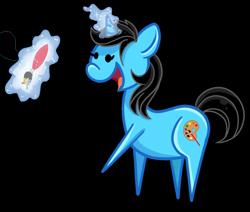Size: 1300x1100 | Tagged: safe, artist:xbeautifuldreamerx, oc, oc:andrea, pony, unicorn, chibi, female, magic, mare, paintbrush, simple background, solo, transparent background