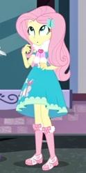 Size: 300x604 | Tagged: safe, screencap, fluttershy, equestria girls, street chic, spoiler:eqg series (season 2), clothes, cute, dress, long socks, scarf, shyabetes, solo, tights