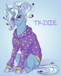 Size: 870x1080   Tagged: safe, artist:dementra369, trixie, pony, unicorn, alternate hairstyle, babysitter trixie, clothes, curved horn, female, gameloft, hoodie, horn, looking at you, mare, pigtails, ponytail, sitting, solo, twintails