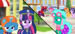Size: 2340x1080 | Tagged: safe, artist:徐詩珮, fizzlepop berrytwist, glitter drops, pinkie pie, spring rain, starlight glimmer, sunset shimmer, tempest shadow, twilight sparkle, alicorn, earth pony, pony, unicorn, series:sprglitemplight diary, series:sprglitemplight life jacket days, series:springshadowdrops diary, series:springshadowdrops life jacket days, alternate universe, bisexual, broken horn, cake, chase (paw patrol), clothes, cute, diapinkes, eating, female, food, glitterbetes, glitterlight, glittershadow, horn, lesbian, lifeguard, lifeguard spring rain, mare, marshall (paw patrol), paw patrol, polyamory, shipping, skye (paw patrol), sprglitemplight, spring rain is not amused, springbetes, springdrops, springlight, springshadow, springshadowdrops, tempestbetes, tempestlight, twilight is not amused, twilight sparkle (alicorn), unamused, zuma (paw patrol)