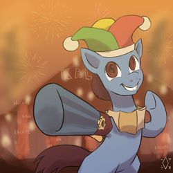 Size: 1668x1668 | Tagged: safe, artist:digiral, pony, robot, robot pony, hat, jester hat, male, solo, stallion