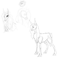 Size: 4000x4000 | Tagged: safe, artist:anelaponela, donkey, hybrid, sheep, female, mare, monochrome, sketch, solo