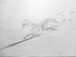 Size: 1280x955 | Tagged: safe, artist:steelarrowheadd, fleetfoot, pegasus, pony, armor, clothes, feather, female, flying, mare, simple background, solo, spear, traditional art, weapon, wings