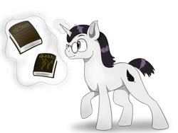 Size: 1600x1200 | Tagged: safe, artist:fubukii, oc, oc:art de triomphe, unicorn, book, commission, glasses, levitation, magic, telekinesis