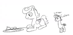 Size: 1280x615 | Tagged: safe, artist:astr0zone, oc, oc only, oc:astrozone, oc:calorie, earth pony, pegasus, pony, drawpile, duo, duo male, lesser dog, long neck, looking at you, male, prone, reference, sketch, smiling, stallion, toy train, undertale