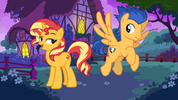 Size: 1136x640 | Tagged: safe, artist:3d4d, artist:andoanimalia, artist:cloudyglow, flash sentry, sunset shimmer, pegasus, pony, unicorn, female, flashimmer, male, mare, shipping, stallion, straight