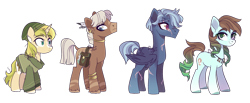 Size: 1024x420 | Tagged: safe, artist:darlyjay, oc, oc only, earth pony, pegasus, pony, unicorn, bag, clothes, female, male, mare, saddle bag, scar, simple background, stallion, transparent background