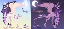 Size: 1024x462 | Tagged: safe, artist:manella-art, oc, oc:sunny moonlight, alicorn, pony, female, magical lesbian spawn, mare, offspring, parent:rainbow dash, parent:twilight sparkle, parents:twidash, solo