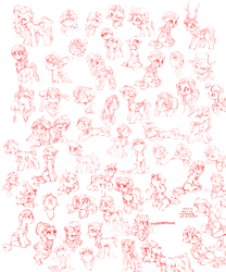Size: 5000x6000 | Tagged: safe, artist:vanillaghosties, applejack, coco pommel, cozy glow, fluttershy, kerfuffle, pinkie pie, princess skystar, rainbow dash, rarity, starlight glimmer, sunset shimmer, trixie, twilight sparkle, alicorn, earth pony, pegasus, pony, unicorn, my little pony: the movie, bust, clothes, cute, female, filly, hat, mane six, mare, monochrome, simple background, sketch, trixie's hat, twilight sparkle (alicorn)
