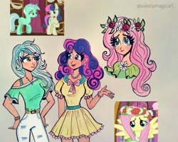 Size: 3897x3120 | Tagged: safe, artist:valeriamagicart, bon bon, fluttershy, lyra heartstrings, sweetie drops, earth pony, human, pegasus, unicorn, slice of life (episode), clothes, female, floral head wreath, flower, humanized, scene interpretation, smiling, traditional art