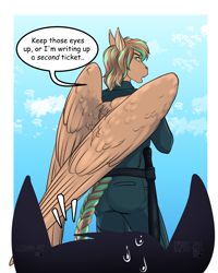 Size: 2647x3309 | Tagged: safe, artist:blackblood-queen, oc, oc only, oc:bronze bulwark, anthro, anthro oc, baton, cloud, commission, dialogue, digital art, female, looking back, mare, police officer, police uniform, rear view, sky, solo focus, speech bubble, unamused