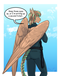 Size: 2647x3309 | Tagged: safe, alternate version, artist:blackblood-queen, oc, oc only, oc:bronze bulwark, anthro, anthro oc, baton, cloud, commission, dialogue, digital art, female, looking back, mare, police officer, police uniform, rear view, sky, solo, speech bubble, unamused