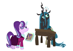 Size: 6256x4424   Tagged: safe, artist:mr100dragon100, queen chrysalis, starlight glimmer, changeling, changeling queen, pony, unicorn, a better ending for chrysalis, book, bored, bound wings, desk, duo, duo female, female, horn, horn ring, levitation, magic, magic suppression, mare, older, older starlight glimmer, reformation, rope, simple background, stool, telekinesis, transparent background, wings