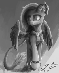 Size: 2520x3072 | Tagged: safe, artist:stdeadra, oc, alicorn, hybrid, pony, claws, gray background, grayscale, horn, leonine tail, monochrome, paws, simple background, slit eyes, solo, spiked wristband, tail, wings, wristband