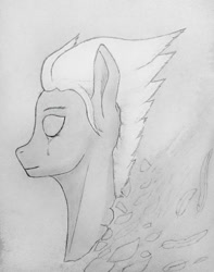 Size: 775x984   Tagged: safe, artist:steelarrowheadd, fleetfoot, bust, crying, eyes closed, feather, lineart, portrait, sad, sad smile, simple background, solo, teary eyes, traditional art