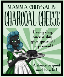 Size: 1418x1700 | Tagged: safe, artist:invisibleguy-ponyman, queen chrysalis, equestria girls, apron, cheese, clothes, equestria girls-ified, female, food, housewife, lipstick, queen swissalis, solo, sunburst background, tray