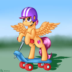 Size: 3000x3000 | Tagged: safe, artist:brilliant-luna, scootaloo, pegasus, pony, bipedal, cheek fluff, cute, cutealoo, female, filly, helmet, scooter, smiling, solo, wings