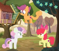 Size: 1024x886 | Tagged: artist needed, source needed, safe, apple bloom, scootaloo, sweetie belle, earth pony, pegasus, pony, unicorn, apple bloom's bow, bow, clubhouse, cutie mark, cutie mark crusaders, ear fluff, flying, hair bow, looking at each other, scootaloo can fly, smiling, the cmc's cutie marks, tree, unshorn fetlocks