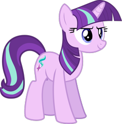 Size: 1331x1357 | Tagged: safe, artist:thatusualguy06, starlight glimmer, pony, unicorn, harvesting memories, spoiler:harvesting memories, spoiler:mlp friendship is forever, .svg available, female, mane swap, mare, not twilight sparkle, simple background, starlight sparkle, transparent background, vector