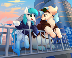 Size: 3563x2867 | Tagged: source needed, safe, artist:thesamstudio, oc, oc only, oc:cynosura, pegasus, pony, city, clothes, duo, female, goggles, looking at each other, mare, smiling, unknown species