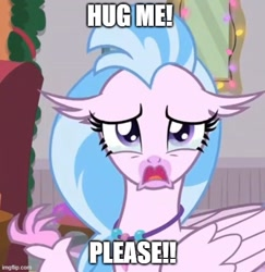 Size: 500x515 | Tagged: safe, edit, edited screencap, screencap, silverstream, classical hippogriff, hippogriff, the hearth's warming club, bronybait, caption, cropped, crying, hug request, image macro, jewelry, meme, necklace, sad, solo, teary eyes, text
