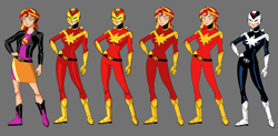 Size: 3514x1727 | Tagged: safe, artist:ironmatt1995, sunset shimmer, equestria girls, clothes, concept art, female, gray background, jacket, line-up, simple background, super sentai