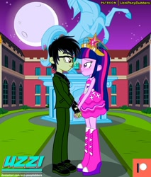 Size: 1280x1501 | Tagged: safe, artist:uzzi-ponydubberx, twilight sparkle, oc, oc:flamin' rage, alicorn, equestria girls, canon x oc, clothes, fall formal outfits, female, fingerless gloves, glasses, gloves, holding hands, looking at each other, male, straight, twilight ball dress, twilight sparkle (alicorn)