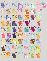 Size: 1984x2560 | Tagged: safe, artist:natgasher, oc, oc:amorous gleam, oc:apple butter, oc:apple jam, oc:apple shine, oc:arcade buster, oc:aurorous belle, oc:barber strand, oc:blissful glee, oc:boston cream, oc:butterscotch, oc:calming steam, oc:cerise glide, oc:cherry fondant, oc:chocolate diamond, oc:crumb cake, oc:delicate sniffles, oc:divine mirage, oc:dream catcher, oc:dream ether, oc:flashing beat, oc:gingergold, oc:glitz n glam, oc:hope flicker, oc:inferno flight, oc:knitten song, oc:lavender delight, oc:maquillage, oc:matcha cake, oc:midnight streak, oc:moon tider, oc:morbid flinch, oc:mudstone, oc:needle n thread, oc:orion, oc:peaceful escape, oc:petal scones, oc:poison ivan, oc:primadonna, oc:princess aurora skies, oc:prism panel, oc:qunatum hijinks, oc:razzle dazzle, oc:regaleo, oc:rockie candy pie, oc:sangria, oc:sarcastic snicker, oc:secret tome, oc:sheepish buckaroo, oc:slowpoke, oc:solmonberry tart, oc:solo hum, oc:sotrmy rush, oc:sovereign dusk, oc:spark blaze, oc:spectacle, oc:stitch pie, oc:studious pretentious, oc:swiss roll pie, oc:thunder shutter, oc:tuxedo shine, oc:windy gale, alicorn, earth pony, pegasus, pony, unicorn, base used, cutie mark, female, gray background, male, mare, offspring, parent:aloe, parent:apple bloom, parent:apple bud, parent:applejack, parent:babs seed, parent:big macintosh, parent:bon bon, parent:button mash, parent:caramel, parent:chancellor neighsay, parent:cheese sandwich, parent:coco pommel, parent:coloratura, parent:diamond tiara, parent:donut joe, parent:double diamond, parent:dumbbell, parent:fancypants, parent:feather bangs, parent:featherweight, parent:filthy rich, parent:fire streak, parent:flam, parent:flash sentry, parent:fleur-de-lis, parent:flim, parent:fluttershy, parent:gloriosa daisy, parent:king sombra, parent:lightning dust, parent:lotus blossom, parent:lyra heartstrings, parent:maud pie, parent:moondancer, parent:mud briar, parent:noteworthy, parent:pinkie pie, parent:pipsqueak, parent:pokey pierce, parent:pound cake, parent:prince blueblood, parent:princess celestia, parent:princess flurry heart, parent:princess luna, parent:pumpkin cake, parent:rainbow dash, parent:rarity, parent:rumble, parent:sassy saddles, parent:scootaloo, parent:silver shill, parent:sky stinger, parent:snips, parent:soarin', parent:star swirl the bearded, parent:star tracker, parent:sugar belle, parent:sunset shimmer, parent:svengallop, parent:sweetie belle, parent:tempest shadow, parent:thunderlane, parent:trenderhoof, parent:trixie, parent:twilight sparkle, parent:vapor trail, parents:aloeflam, parents:bluetrix, parents:bonjoe, parents:carajack, parents:celestibra, parents:cheesepie, parents:cocoshill, parents:diamondweight, parents:filthriosa, parents:flashlight, parents:flimjack, parents:fluttermac, parents:lightningbell, parents:lotusflam, parents:lunaswirl, parents:lyraworthy, parents:maudbriar, parents:maudwich, parents:moonblood, parents:neighshadow, parents:pipbloom, parents:pokeypie, parents:poundflurry, parents:raripants, parents:raririch, parents:rumbloo, parents:snipsseed, parents:soarindash, parents:sugarbangs, parents:sugardiamond, parents:sunsetstreak, parents:svera, parents:sweetiemash, parents:thunderdust, parents:trend-de-lis, parents:trenderpommel, parents:trendysaddles, parents:twitracker, parents:vaporsky, simple background, stallion, wall of tags