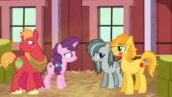 Size: 2064x1161 | Tagged: safe, big macintosh, braeburn, marble pie, sugar belle, earth pony, pony, unicorn, aftersex, awkward, barn, blushing, boyfriend and girlfriend, braeble, caught, confused, cousins, cutie mark, embarrassed, female, hay, huh, husband and wife, implied sex, indoors, kiss on the cheek, kissing, lipstick mark, looking at each other, male, messy mane, missing accessory, shipping, smiling, straight, sugarmac, surprised