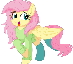Size: 6895x6049 | Tagged: safe, artist:cyanlightning, fluttershy, pegasus, pony, .svg available, absurd resolution, clothes, cute, ear fluff, female, happy, mare, shyabetes, simple background, socks, solo, spread wings, sweater, sweatershy, transparent background, vector, wings
