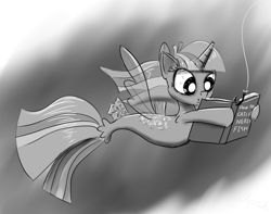 Size: 1252x987   Tagged: safe, artist:chopsticks, derpibooru exclusive, twilight sparkle, alicorn, seapony (g4), adorkable, bait, book, cute, dork, female, fin wings, fishing, fishing hook, hook, horn, monochrome, reading, seaponified, seapony twilight, simple background, solo, species swap, that pony sure does love books, twilight sparkle (alicorn), underwater, water, wings