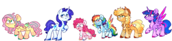 Size: 4388x1062 | Tagged: source needed, safe, artist:honneymoonmlp, applejack, fluttershy, pinkie pie, rainbow dash, rarity, twilight sparkle, alicorn, earth pony, pegasus, pony, unicorn, chest fluff, colored hooves, colored wings, cowboy hat, hat, headcanon, mane six, multicolored wings, rainbow wings, twilight sparkle (alicorn), unshorn fetlocks, wings