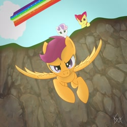 Size: 2160x2160   Tagged: artist needed, source needed, safe, apple bloom, scootaloo, sweetie belle, earth pony, pegasus, pony, unicorn, cliff, cloud, flying, rainbow trail, scootaloo can fly