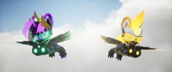Size: 3840x1620 | Tagged: safe, artist:phoenixtm, oc, oc:delta firedash, oc:phoenix stardash, cyborg, dracony, dragon, hybrid, pony, 3d, cloud, dracony alicorn, flying, looking at camera, spread wings, unreal engine, weapon, wings
